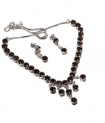 Neerupam Collection Marvellous Brown smoky Diamond Look Rhodium Plated Sterling Silver Earring & Necklace Set for Women