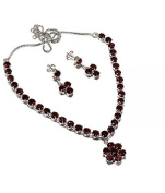 Neerupam Collection Red Garnet Diamond Look Rhodium Plated Sterling Silver Earring & Necklace Set for Women