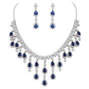 TENYE Women's Cubic Zirconia Gorgeous Water Drop Dangle Necklace Earrings Set Silver-Tone