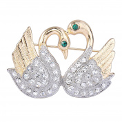 TENYE Women's Austrian Crystal Mothers' Gifts Double Swans Bird Brooch Pin Clear Gold-Tone