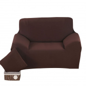 sourcingmap® Stretch Sofa Slipcovers Sofa Covers 2 Seater Protectors Couch Covers Featuring Soft Form Fit Slip Resistant Chair Covers 55-190cm Chocolate Colour