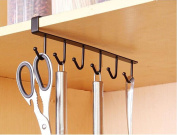 6 Hook Kitchen Cupboard Hanging Hook, Turkey Iron Storage Rack Hanger Shelf Wine Glass Holder Chest Storage Organiser Holder Tea Towels Utensils Mug Cup Holder, Black and White