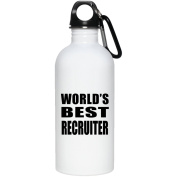 World's Best Recruiter - Water Bottle, Stainless Steel Tumbler, Best Gift for Birthday, Wedding Anniversary, New Year, Valentine's Day, Easter, Mother's / Father's Day