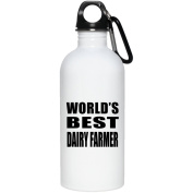 World's Best Dairy Farmer - Water Bottle, Stainless Steel Tumbler, Best Gift for Birthday, Wedding Anniversary, New Year, Valentine's Day, Easter, Mother's / Father's Day