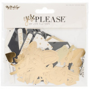 Yes, Please Mixed Bag Cardstock Die - Cuts 56/Pkg - with Gold Foil Accents