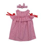 Brightup Summer Kids Baby Girl Outfit Clothes Blue Stripe Dress+Headband Set,Ruffled Princess Dress, Beach Dress