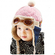 HLHN Baby Winter Knitted Hat , Warm Earflap Pilot Hat With Faux Fur Beanie Pom Pom For Girl Boy