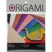 Fold 'Ems Origami 2-Sided Paper 15cm 50/Pkg-Kraft/Brights