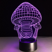 Mushroom house 3D LED Lamp 7Colorful Art Sculpture Lights Decoration 3D Optical Illusion Lamp with Touch Button USB Lamp Gifts