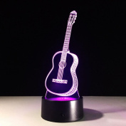 Guitar 3D LED Lamp 7Colorful Art Sculpture Lights Decoration 3D Optical Illusion Lamp with Touch Button USB Lamp Gifts