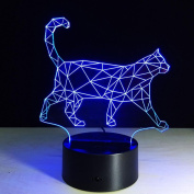 Walking Kitten 3D Optical Illusion Lamp, 7 Colours Changing Led Night Light with Touch Button & USB Cable for Kids Sleeping / Home Decoration / Gift / Art Sculpture Light