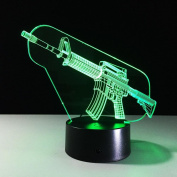 Toy Gun 3D Optical Illusion Lamp, 7 Colours Changing Led Night Light with Touch Button & USB Cable for Kids Sleeping / Home Decoration / Gift / Art Sculpture Light