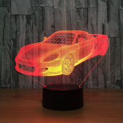 Sports car 3D LED Lamp 7Colorful Art Sculpture Lights Decoration 3D Optical Illusion Lamp with Touch Button USB Lamp Gifts