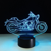 Creative 3D Illusion Lamps Motorcycle,7 Colours Led Night Light Touch Switch Bedroom Desk Lighting for Kids Gifts House Decoration