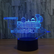 Train 3D LED Lamp 7Colorful Art Sculpture Lights Decoration 3D Optical Illusion Lamp with Touch Button USB Lamp Gifts