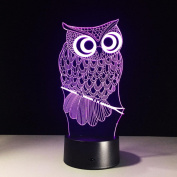 Big Eyes Owl 3D Optical Illusion Lamp, 7 Colours Changing Led Night Light with Touch Button & USB Cable for Kids Sleeping / Home Decoration / Gift / Art Sculpture Light