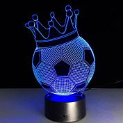 Crown Football 3D Optical Illusion Lamp, 7 Colours Changing Led Night Light with Touch Button & USB Cable for Kids Sleeping / Home Decoration / Gift / Art Sculpture Light