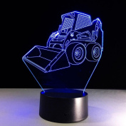 Bulldozer 3D LED Lamp 7Colorful Art Sculpture Lights Decoration 3D Optical Illusion Lamp with Touch Button USB Lamp Gifts