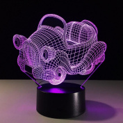 Shake the car 3D LED Lamp 7Colorful Art Sculpture Lights Decoration 3D Optical Illusion Lamp with Touch Button USB Lamp Gifts