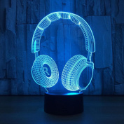 Creative 3D Illusion Lamps Headset,7 Colours Led Night Light Touch Switch Bedroom Desk Lighting for Kids Gifts House Decoration