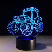 Tractor 3D LED Lamp 7Colorful Art Sculpture Lights Decoration 3D Optical Illusion Lamp with Touch Button USB Lamp Gifts