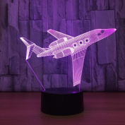 aircraft 3D LED Lamp 7Colorful Art Sculpture Lights Decoration 3D Optical Illusion Lamp with Touch Button USB Lamp Gifts