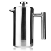 Uarter French Press Coffee Maker, Double Walled Stainless Steel Construction Tea or Café Kettle 350ml 12OZ