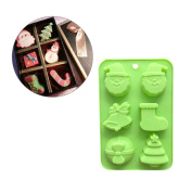 Jiamins 6 Shapes Christmas Chocolate Cake Mould 6 Cavity Fondant Baking Mat Moulds