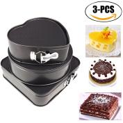 Springform Pan, outgeek 3Pcs Cake Bakeware Heart Round Square Shaped Nonstick Cheesecake Pan Cake Pan