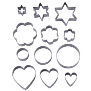 Joybuy 12pcs Baking Cookie Cutters Mould Stainless Steel Cookie Cutter Cookie Shape Cooking Accessories/Chocolate/Cake