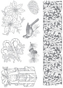 Ultimate Crafts Look Like Christmas Stamp 7/Pkg-Cardinal And Poinsettia
