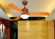 LED fan ceiling fan solid wood leaf simple chandelier remote control chandelier