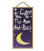 Blue I Love You To The Moon And Back Kids Nursery Baby Room SIGN 25cm X 13cm