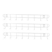 43mm Length 8-Hook Home Bedroom Hat Coat Wall Mounted Rack Hanger Holder 3pcs