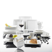 Malacasa, Series Blance, 36-Piece Cream White Porcelain Dinner Combi-Set with 6 x Cups/ Saucers/ Cereal Bowls/ Dessert Plates/ Soup Plates and Dinner Plates Dinnerware Service for 6 People