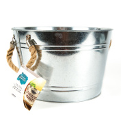 On the Surface Large Tin Pail with Burlap Handles by Horizon Group USA