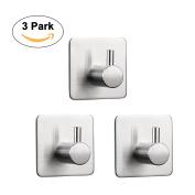 3 Pcs Stainless Steel Hooks 3M Self Adhesive Key Rack Wall Hooks Wardrobe Hangers Holder for Home Kitchen Closet