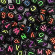 Toaob Letter Beads Black Acrylic Beads with Multi Coloured Letters A-Z Dimensions 4x7 mm for Bracelet Round Beads Necklace, Key Ring and Childrens Cute Pack of 600