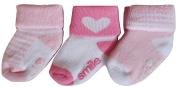 Baby Girls 3 Pair Pack of Anti-Slip Socks Pinks and White