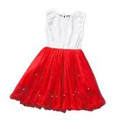Yosemite Girl Dress Princess Sleeveless Party Flower Lace Imitation Pearl Tutu Dress