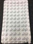 Deluxe Unisex Baby Waterproof Changing Mat with Raised Edges - Unique White with Grey Rabbit Design