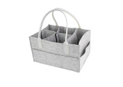 Grey Felt Nappy Caddy, Nursary Storage, Nappy Organiser, Changeable Compartments, Leather Handles