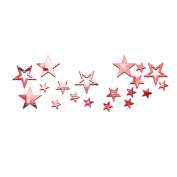 Souarts Removable Red Twinkle Stars Acrylic Mirror Wall Stickers for Children Home Living Room Decoration