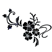 Souarts Removable Black Flowers Patern Plastic Mirror Wall Stickers for Kids Home Decoration