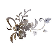 Souarts Removable Silver Flowers Patern Plastic Mirror Wall Stickers for Kids Home Decoration