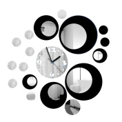 Souarts Removable Black Round Arts Clock Plastic Mirror Wall Stickers for Kids Home Decoration