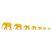 Souarts Removable Gold Colour 7 Cartoon Elephants Patern Plastic Mirror Wall Stickers for Home Living Room Decoration