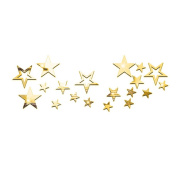Souarts Removable Gold Colour Twinkle Stars Acrylic Mirror Wall Stickers for Children Home Living Room Decoration