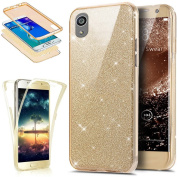Sony Xperia X Case,ikasus [Full-Body 360 Coverage Protective] Crystal Clear Ultra-Slim Sparkly Shiny Glitter Bling Front Back Full Coverage Soft Clear TPU Silicone Rubber Case Cover for Sony Xperia X,Gold