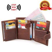 Mens Mans Leather Wallet,Sweetauk Genuine Leather RFID Blocking Wallet, Gift for Men(Gift box)